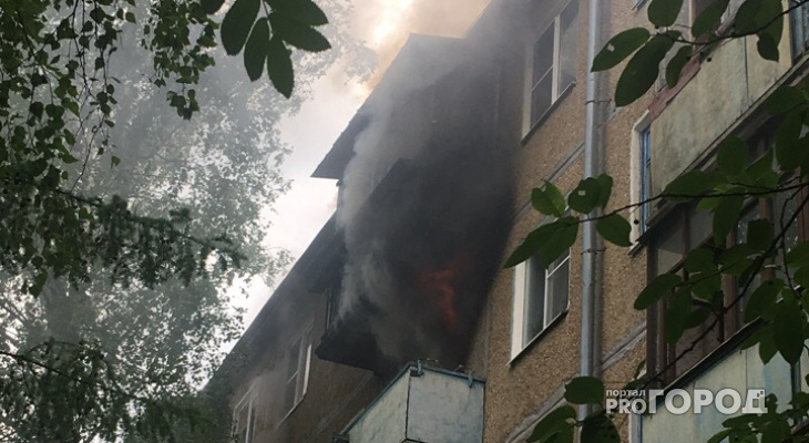 Крупный пожар в Йошкар-Оле: квартира полыхала открытым огнем