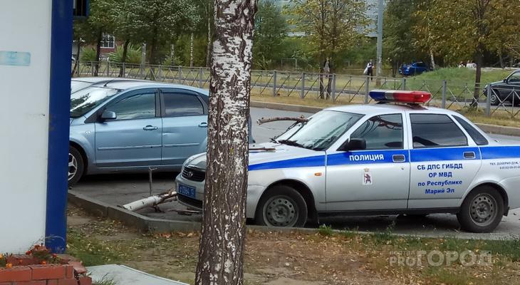 В Йошкар-Оле дерево рухнуло на машину ДПС