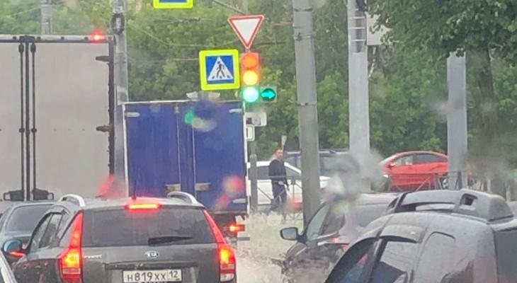 Фото дня: в Йошкар-Оле светофор превратился в новогоднюю гирлянду