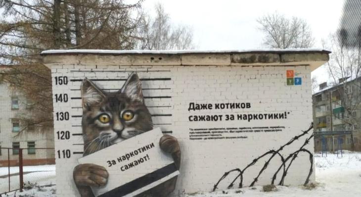 Уличный художник завершил создание антинаркотического граффити в Йошкар-Оле