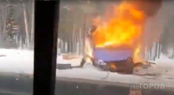 Утром на трассе в Марий Эл после ДТП загорелась «ГАЗель»