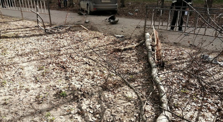 В Йошкар-Оле легковушка наехала на бордюр и угодила в дерево
